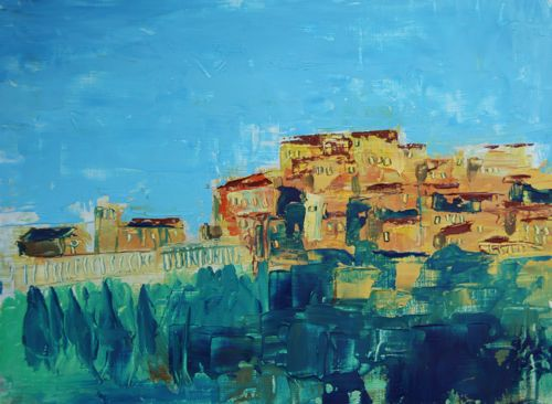 Assisi by palette knife, 24x18cm, oil on panel