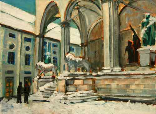 Painting: a snowy day in Odeonsplatz, Munich