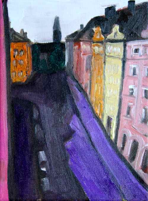 Painting: the view down my street