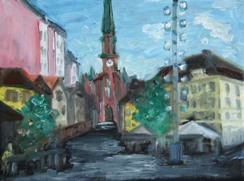 Painting: Munich Wienerplatz study #3