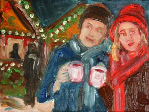 Gluehwein at the Christmas market painting